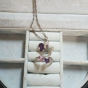 Jewelry - Amethyst necklace and ring set